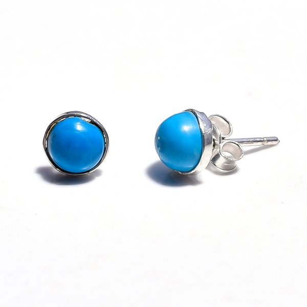 Sleeping Beauty Turquoise Gemstone 925 Sterling Silver Stud Earrings
