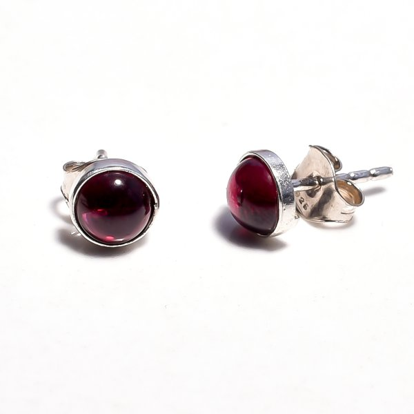 Garnet Gemstone 925 Sterling Silver Stud Earrings