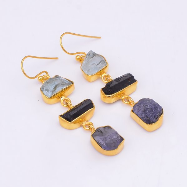 Aquamarine Black Tourmaline Raw Gemstone 925 Sterling Silver Gold Plated Earrings