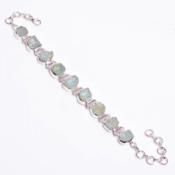 Aquamrine Raw Gemstone 925 Sterling Silver Bracelet