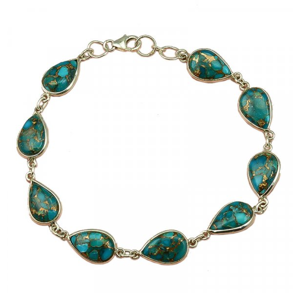 Blue Copper Turquosie Gemstone  925 Sterling Silver Bracelet