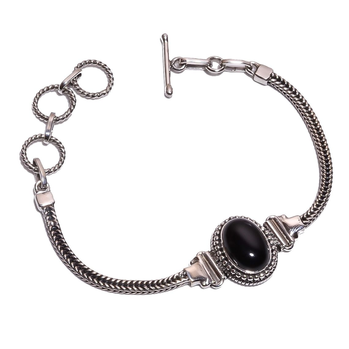 Black Onyx Gemstone  925 Sterling Silver Bracelet
