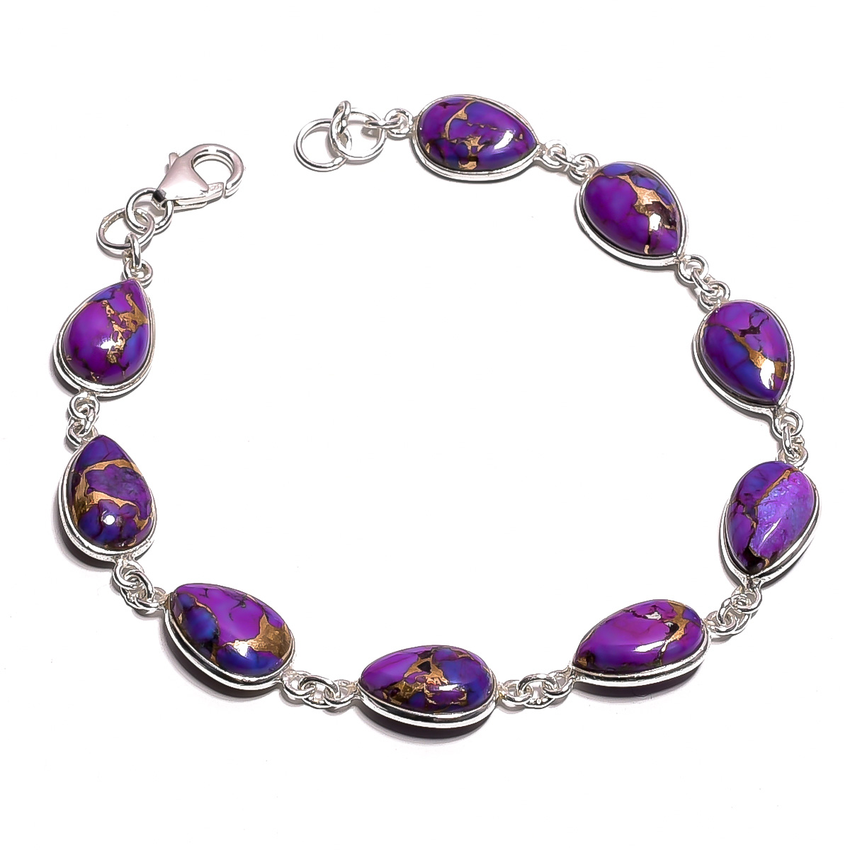 Purple Copper Turquosie Gemstone  925 Sterling Silver Bracelet