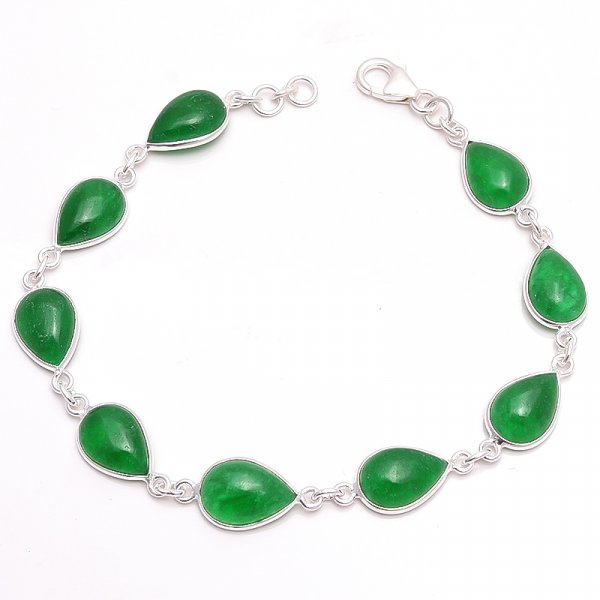 Green Jade Gemstone  925 Sterling Silver Bracelet