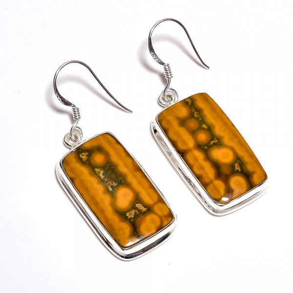 Ocean Jasper Gemstone 925 Sterling Silver Earrings
