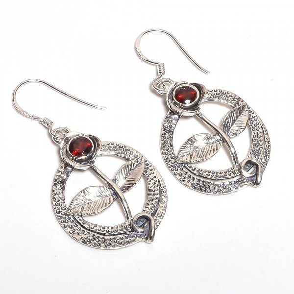 Garnet Gemstone 925 Sterling Silver Earrings