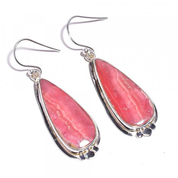 Rhodochrosite Gemstone 925 Sterling Silver Earrings