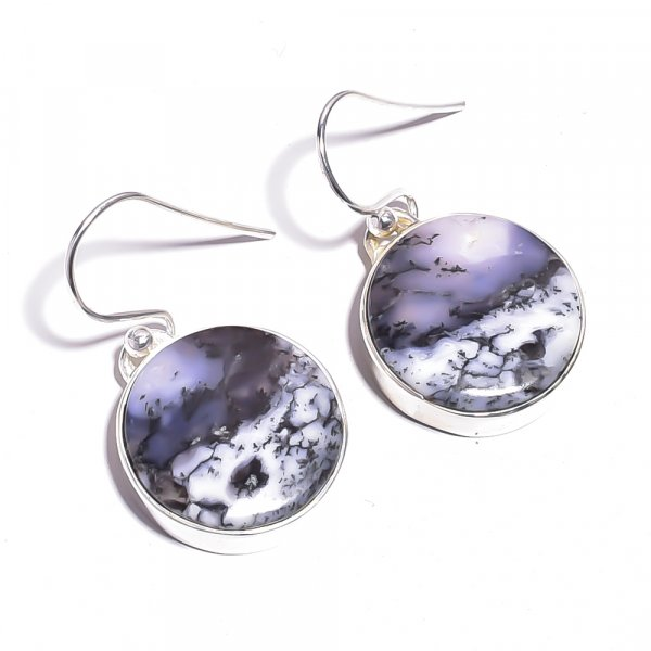 Dendrite Opal Gemstone 925 Sterling Silver Earrings