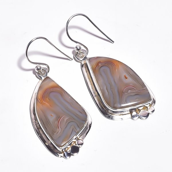 Botswana Agate Gemstone 925 Sterling Silver Earrings