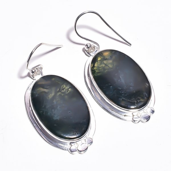 Moss Agate Gemstone 925 Sterling Silver Earrings
