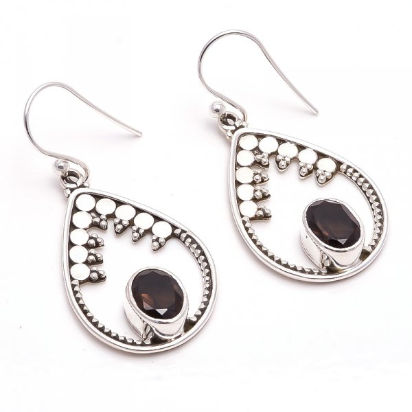 Smoky Gemstone 925 Sterling Silver Earrings