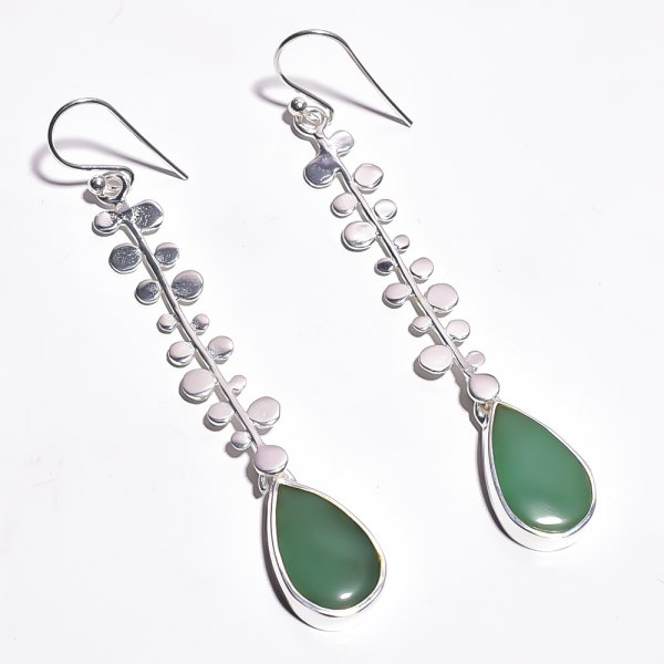 Nephrite Jade Gemstone 925 Sterling Silver Earrings