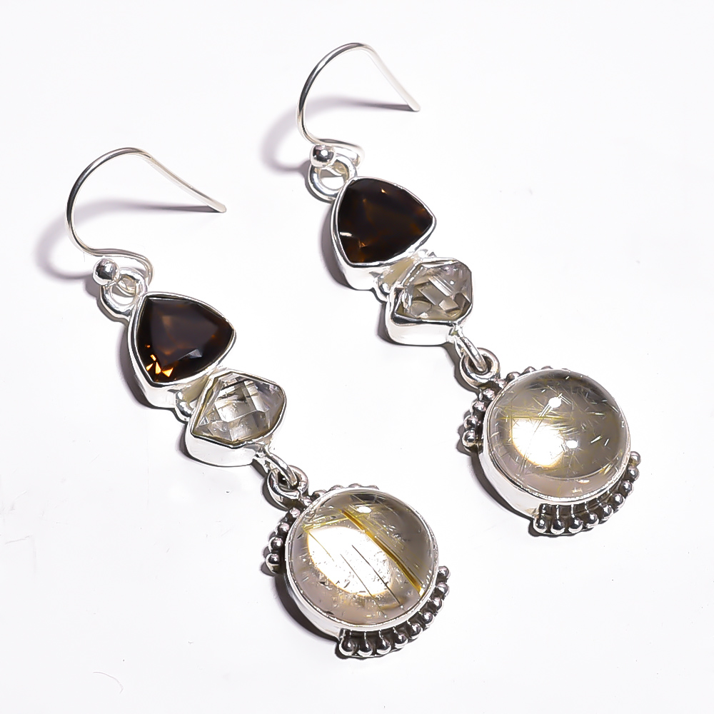Golden Rutile Herkimer Dimond Gemstone 925 Sterling Silver Earrings