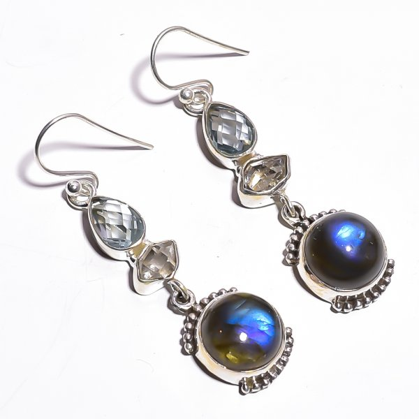 Labradorite Herkimer Dimond Gemstone 925 Sterling Silver Earrings