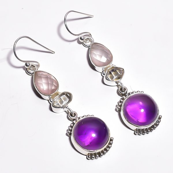 Amethyst  Herkimer Dimond Gemstone 925 Sterling Silver Earrings