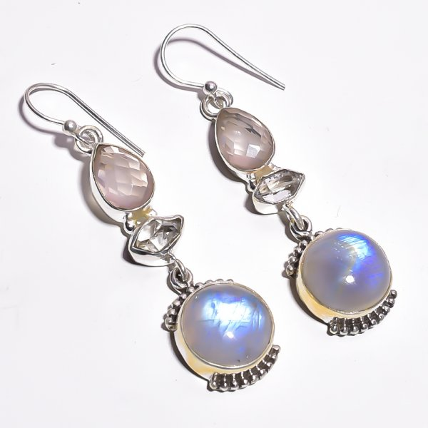Rainbow Moonstone  Herkimer Dimond Gemstone 925 Sterling Silver Earrings
