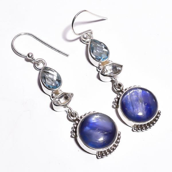 Blue Kyanite  Herkimer Dimond Gemstone 925 Sterling Silver Earrings