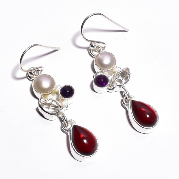 Garnet Pearl Gemstone 925 Sterling Silver Earrings