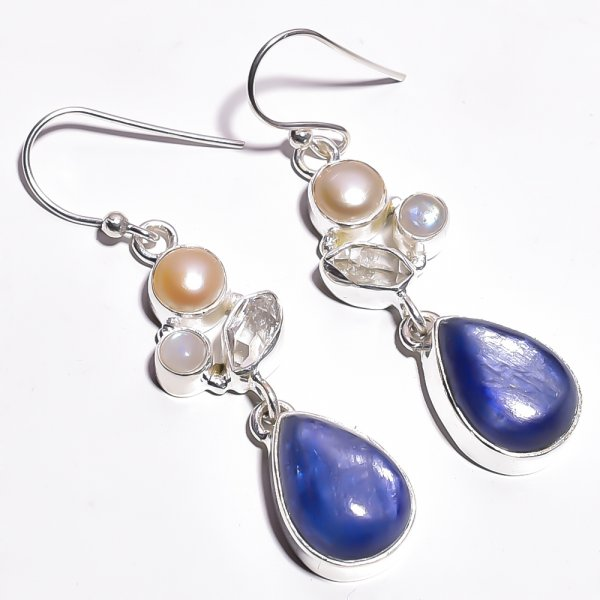 Blue Kyanite Pearl Gemstone 925 Sterling Silver Earrings
