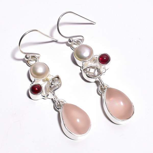 Rose Quartz Pearl Gemstone 925 Sterling Silver Earrings