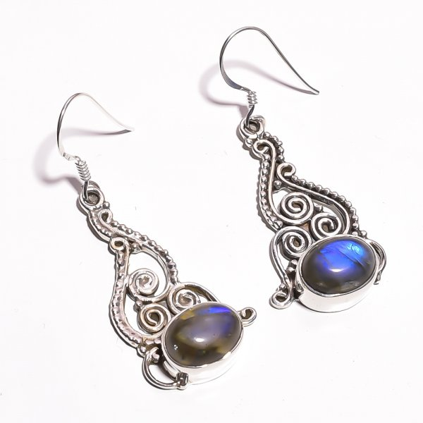 Labradorite Gemstone 925 Sterling Silver Earrings