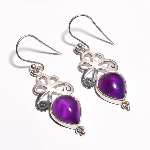 Amethyst Gemstone 925 Sterling Silver Earrings