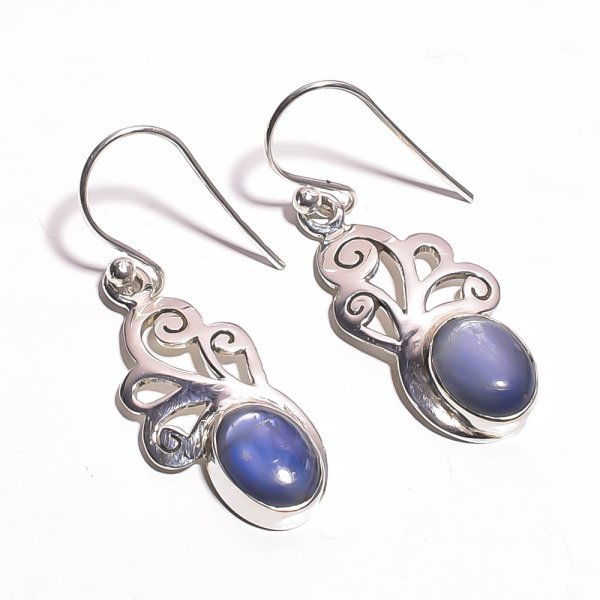 Blue Kyanite Gemstone 925 Sterling Silver Earrings