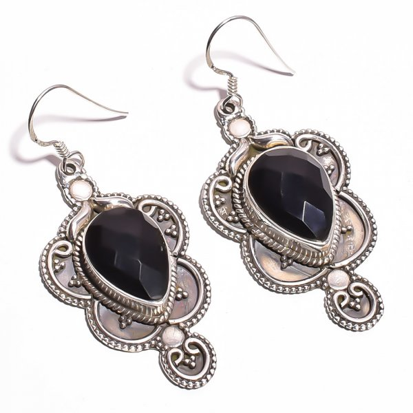 Black Onyx Gemstone 925 Sterling Silver Earrings