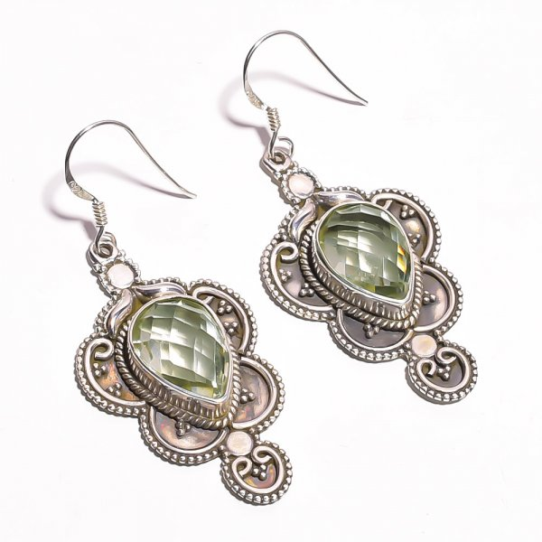 Green Amethyst Gemstone 925 Sterling Silver Earrings