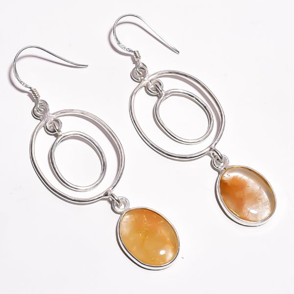 Golden Rutile Gemstone 925 Sterling Silver Earrings