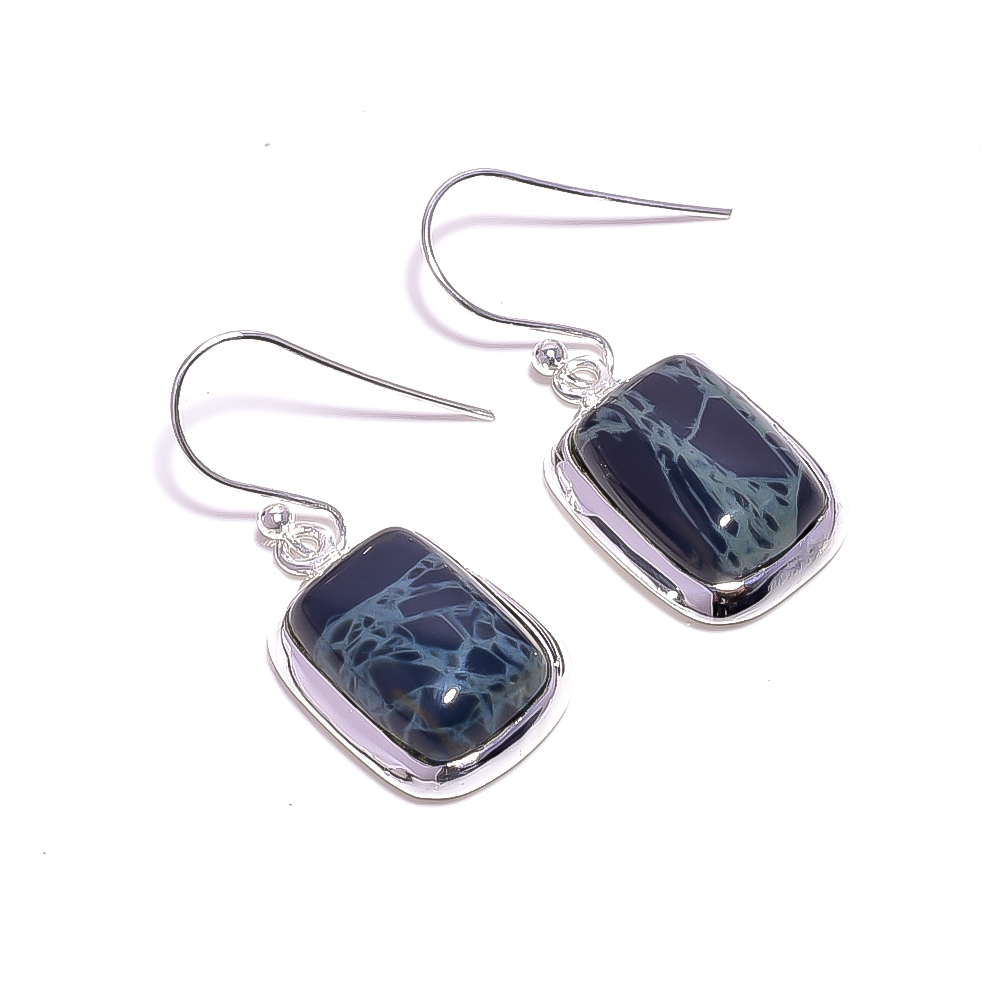 Spider Web Jasper Gemstone 925 Sterling Silver Earrings