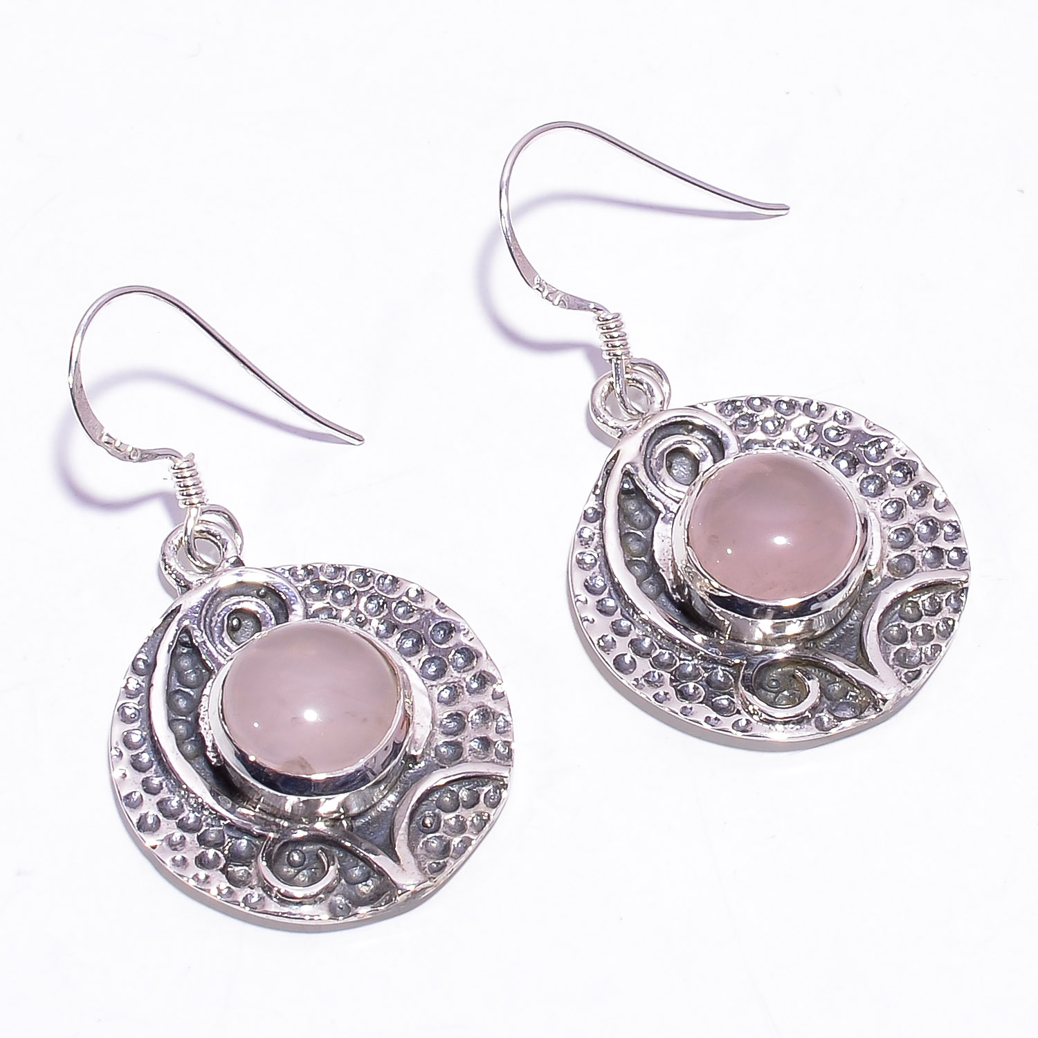 Rose Quartz Gemstone 925 Sterling Silver Earrings