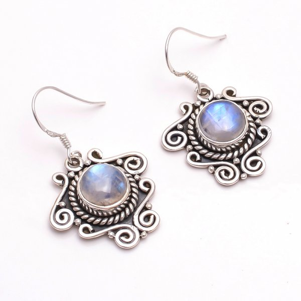 Rainbow Moonstone 925 Sterling Silver Earrings