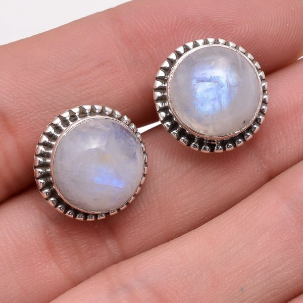 Rainbow Moonstone 925 Sterling Silver Stud Earrings