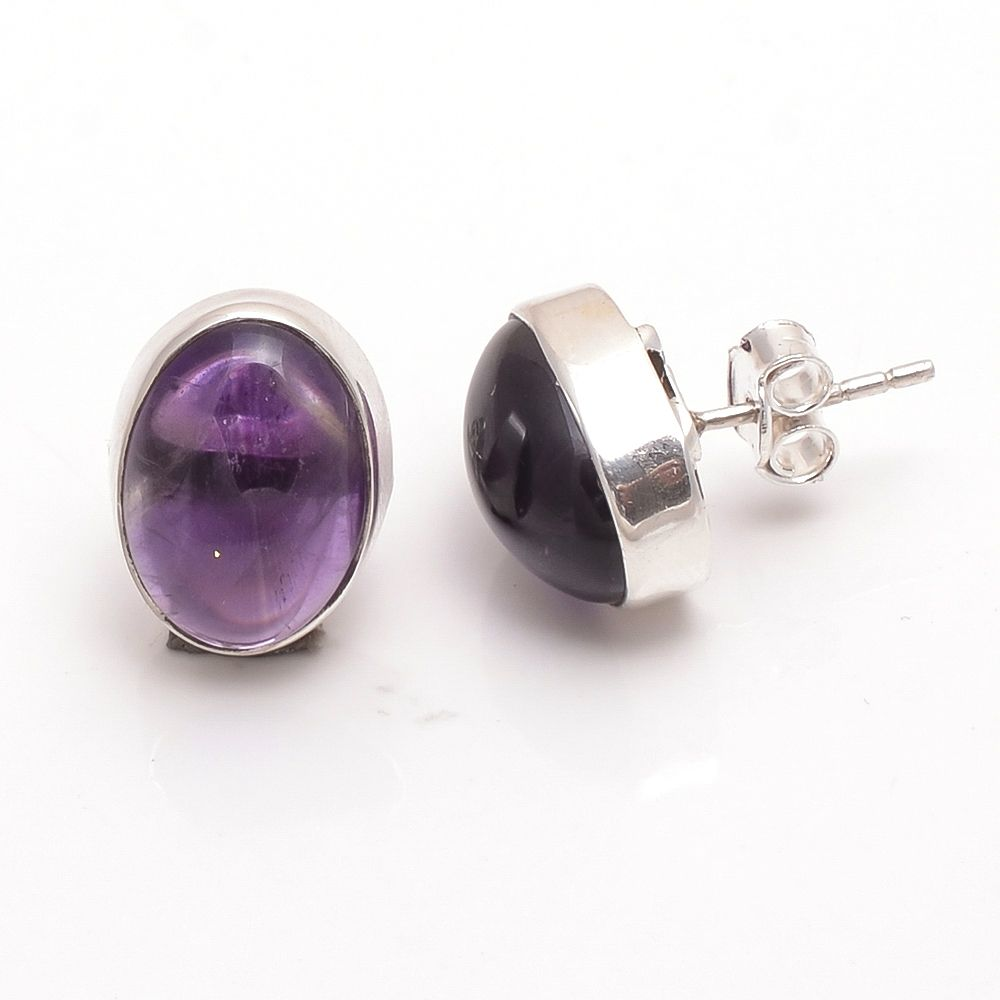 Amethyst Gemstone 925 Sterling Silver Stud Earrings