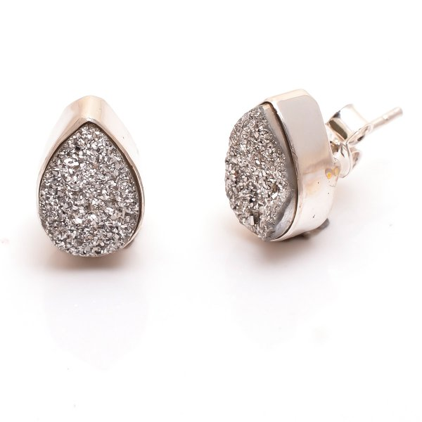 Titanium Druzy Gemstone 925 Sterling Silver Stud Earrings