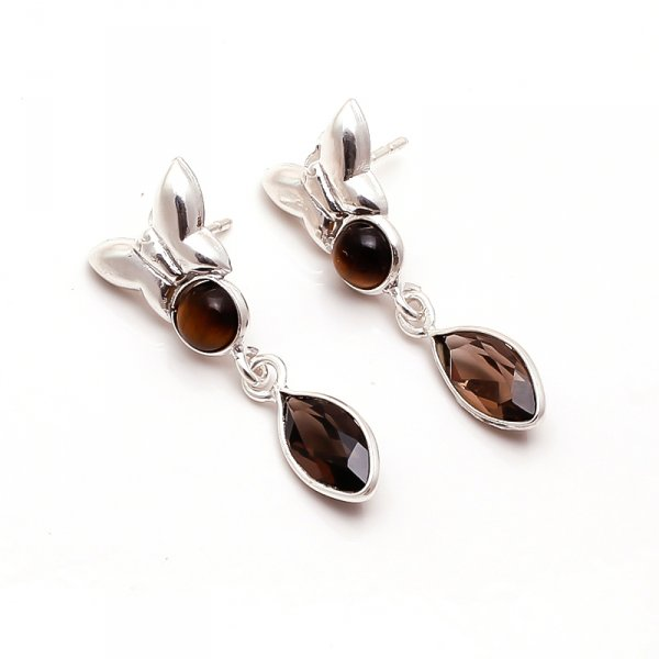 Tiger Eye Smoky Gemstone 925 Sterling Silver Earrings