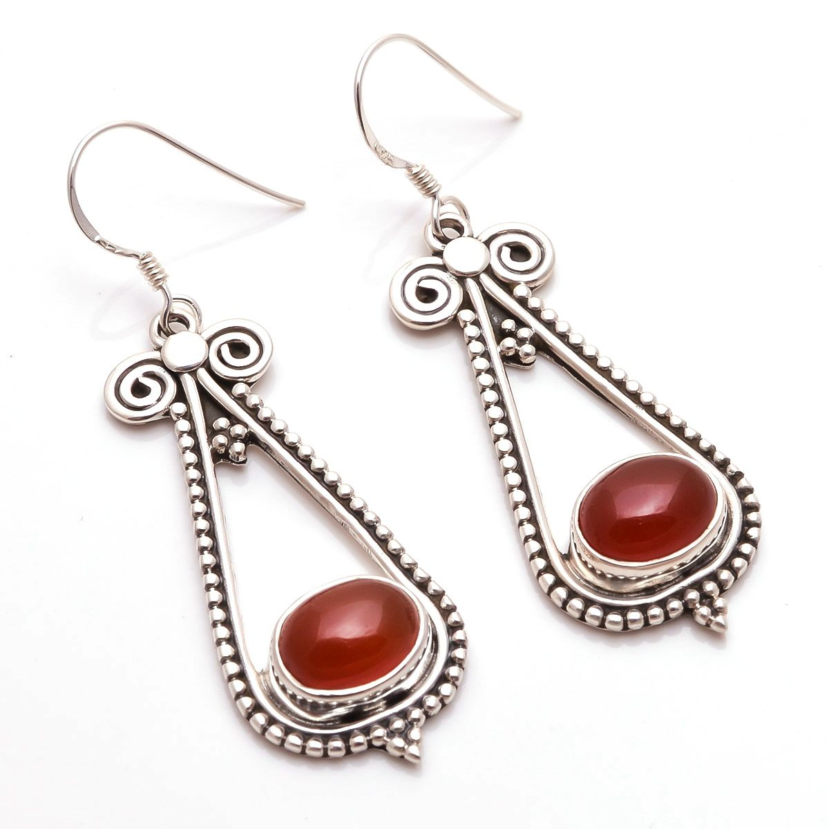 Red Onyx Gemstone 925 Sterling Silver Earrings