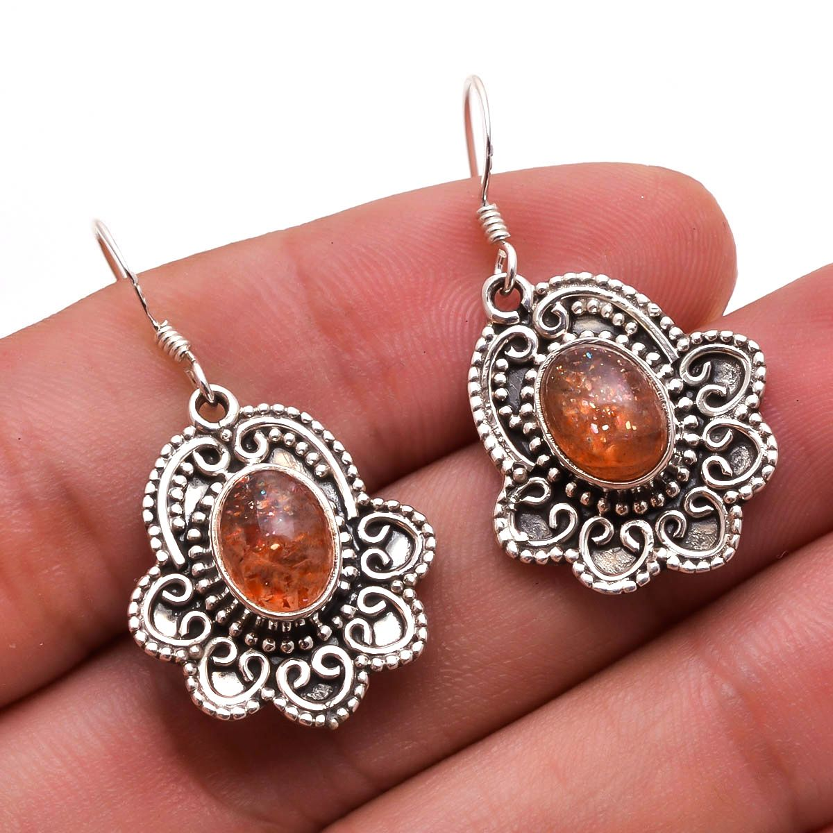 Sunstone 925 Sterling Silver Earrings