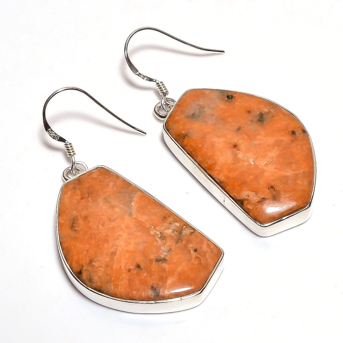 Unakite Gemstone 925 Sterling Silver Earrings