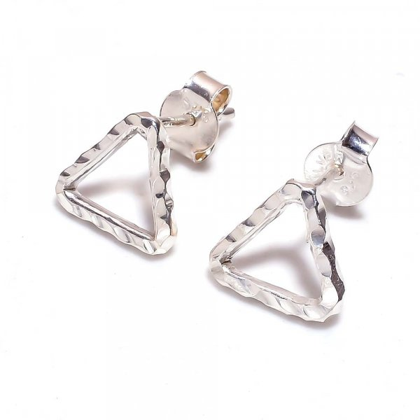 Designer 925 Sterling Silver Hammered Stud Earrings