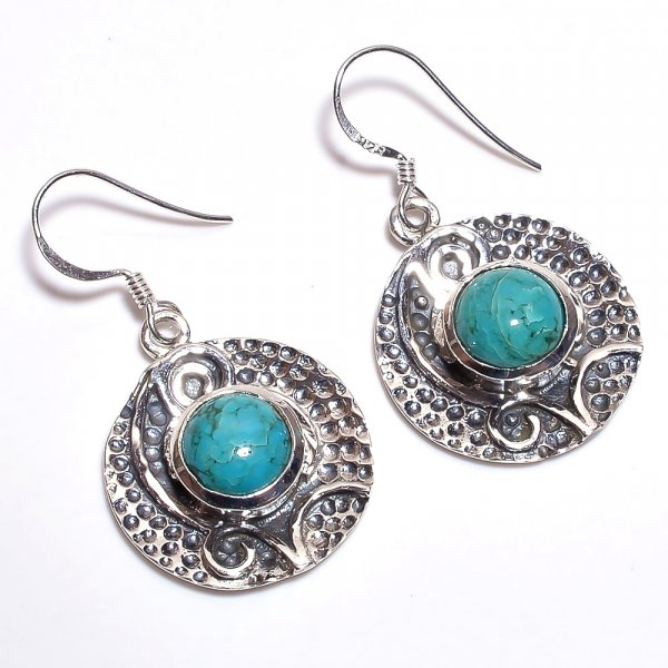 Turquoise Gemstone 925 Sterling Silver Earrings