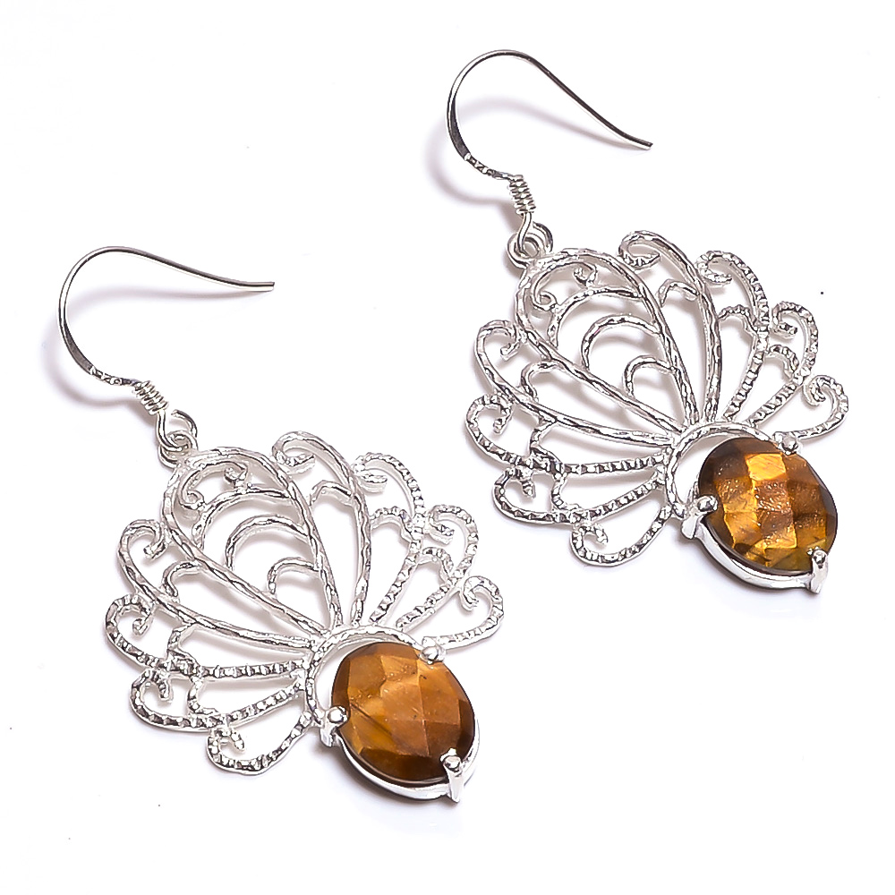 Tiger Eye Gemstone 925 Sterling Silver Earrings
