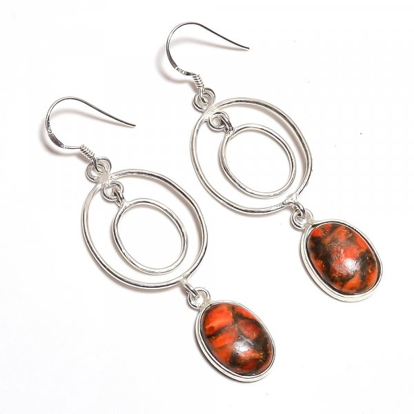 Orange Copper Turquoise Gemstone 925 Sterling Silver Earrings