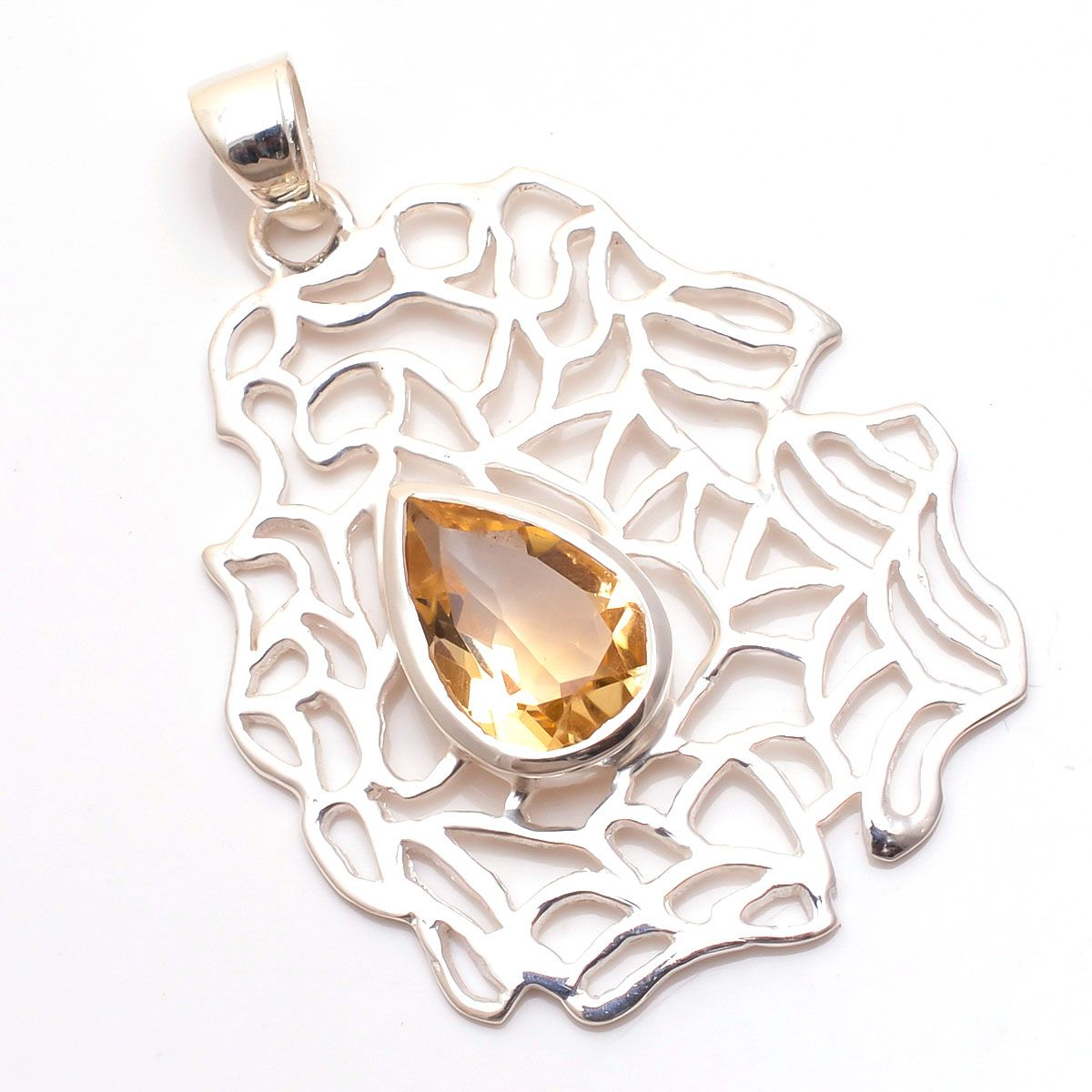 Citrine Gemstone 925 Sterling Silver Pendant