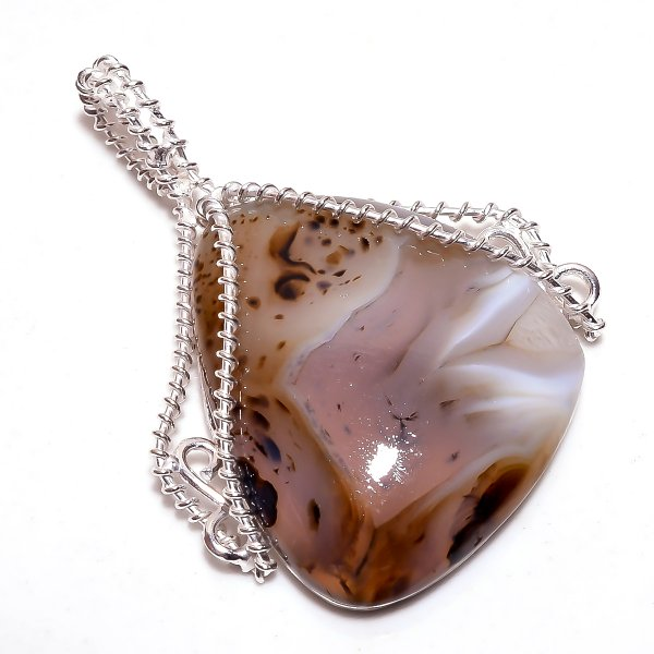 Dendrite Opal Gemstone 925 Sterling Silver Wire Wrapped Pendant