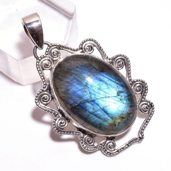 Blue Fire Play Labradorite Gemstone 925 Sterling Silver Pendant