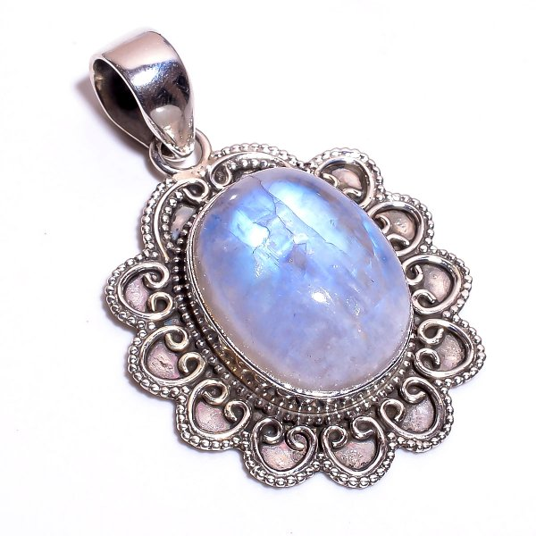 Rainbow Moonstone 925 Sterling Silver Pendant