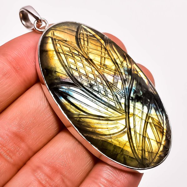 Fire Play Labradorite Carved Gemstone 925 Sterling Silver Pendant