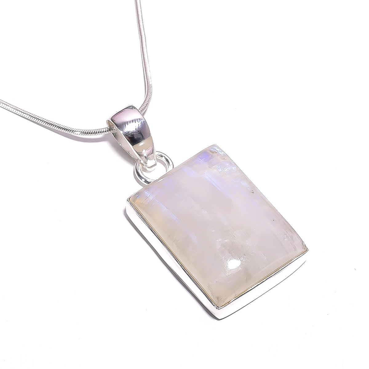 Rainbow Moonstone Gemstone 925 Sterling Silver Chain Pendant Necklace
